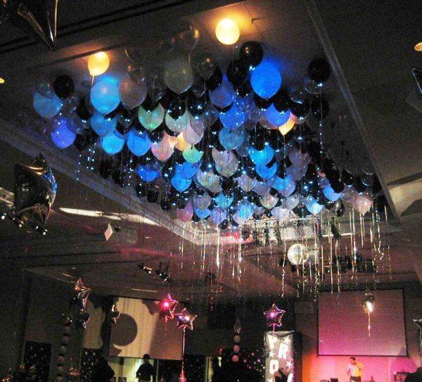 balloon ceiling over dance floor