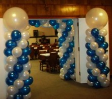 Blue and White Balloon Column