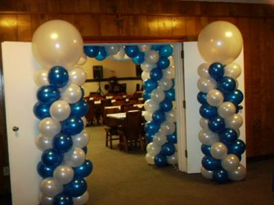 Restaurant reservation balloon columns for Balloon column decoration
