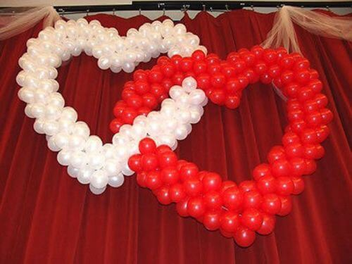 Wedding cake table decoration ideas with balloons Valentine stage decorations