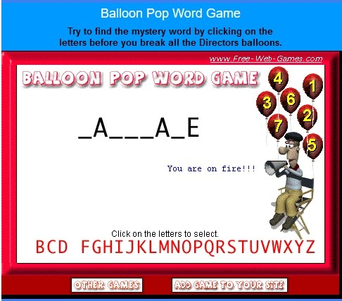 Balloon Pop Word Game