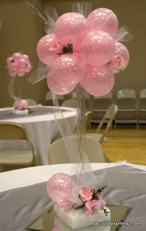 Balloon topiary in pink with white tulle.