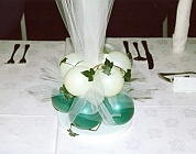 Green and white balloon base with ivy and tulle