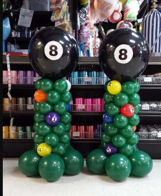 Billiard Themed Balloon Column