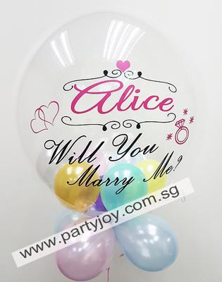 Wedding proposal bubble balloon with 5 inch balloons and collar [Source: partyjoy.com.sg]