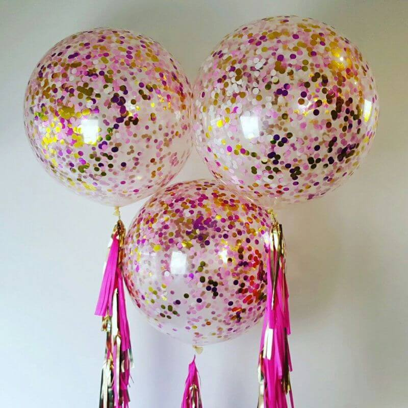 giant confetti balloons with tassels