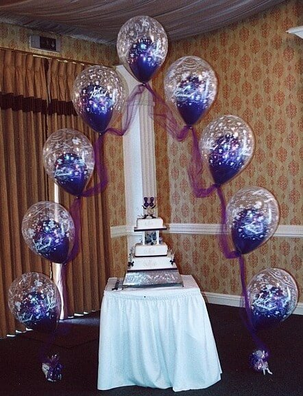 Wedding cake table decoration ideas with balloons for Ballon wedding decoration