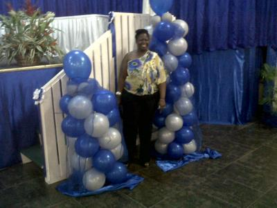 Balloon Columns in Blue & White