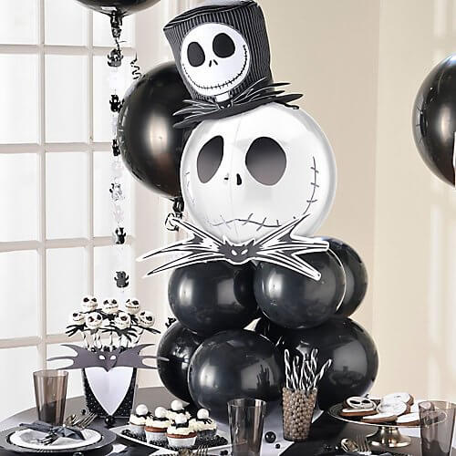 Spooky Halloween balloon centerpiece with a Jack Skellington Orbz balloon as topper.