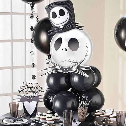 Spooky Halloween balloon centerpiece with a Jack Skellington Orbz balloon as topper.