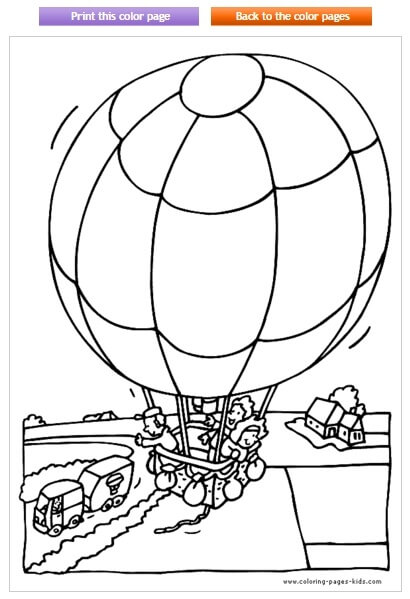 Hot Air Balloon Coloring Picture  Free Printables