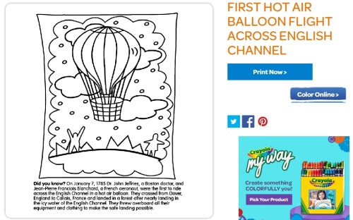 Hot Air Balloon Coloring Picture at Crayola.com