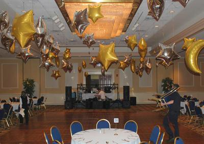 Venue decoration with mylar balloon stars and moons