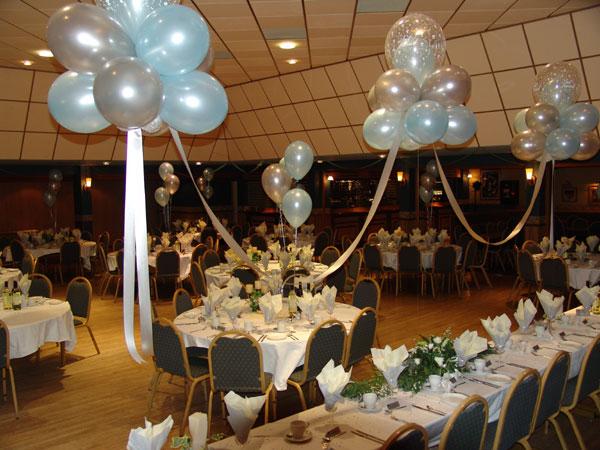 balloon clouds at wedding reception
