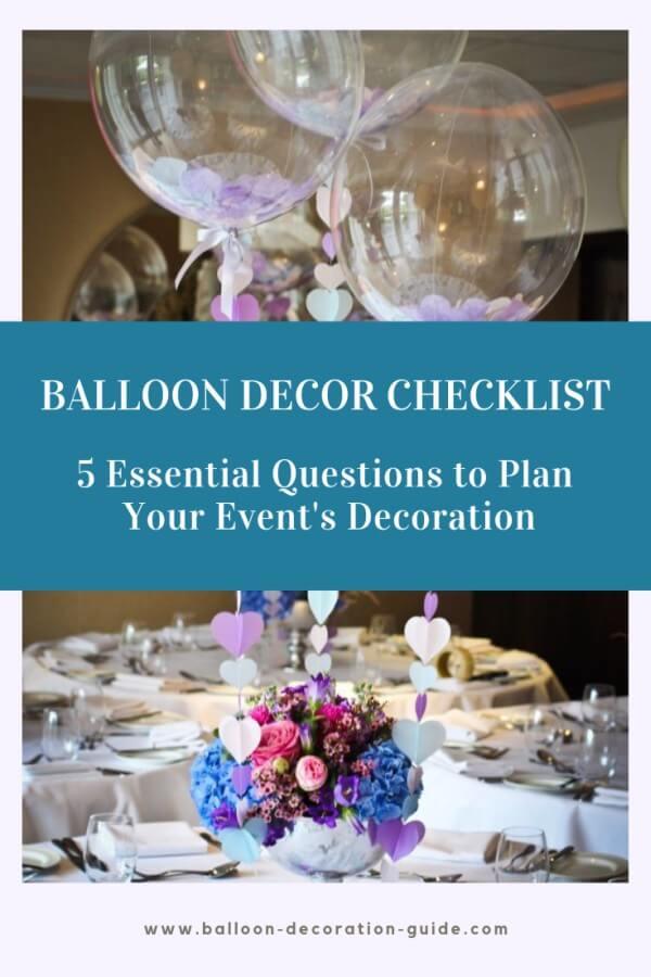 Balloon decor checklist