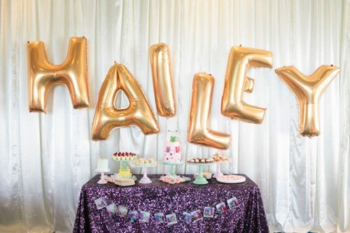 Balloon Letters Suspended from Ceiling