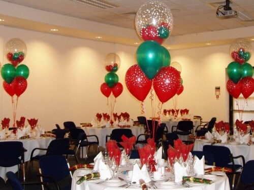 Christmas wedding decoration ideas with balloons christmas wedding balloon centerpieces junglespirit Image collections