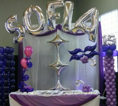 Sweet 16 and Quincenera Balloon Arch and Centerpieces