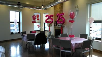 Balloon Decor for a 25th Birthday Party