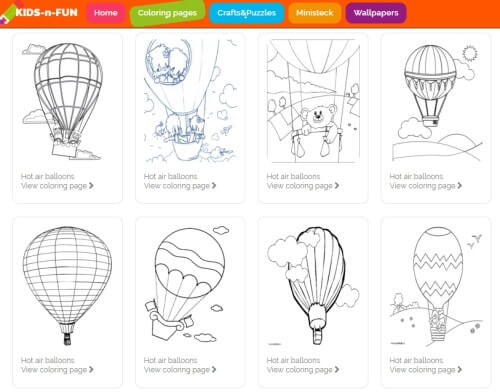 Hot Air Balloon Coloring Picture Selection at Kids-n-Fun.com