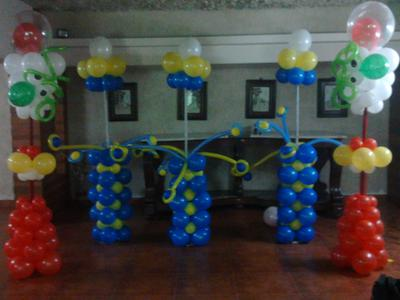 Balloon Columns in Various Shapes and Colors