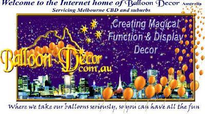 Balloon Decor decorating Melbourne Australia since 1983
