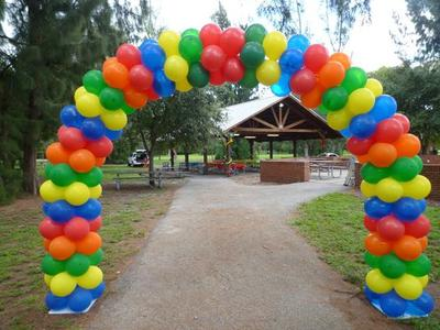 Colorful Outdoor Balloon Arch [Image source: www.dreamarkevents.com]