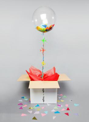 Confetti / tissue stuffed balloon in a box